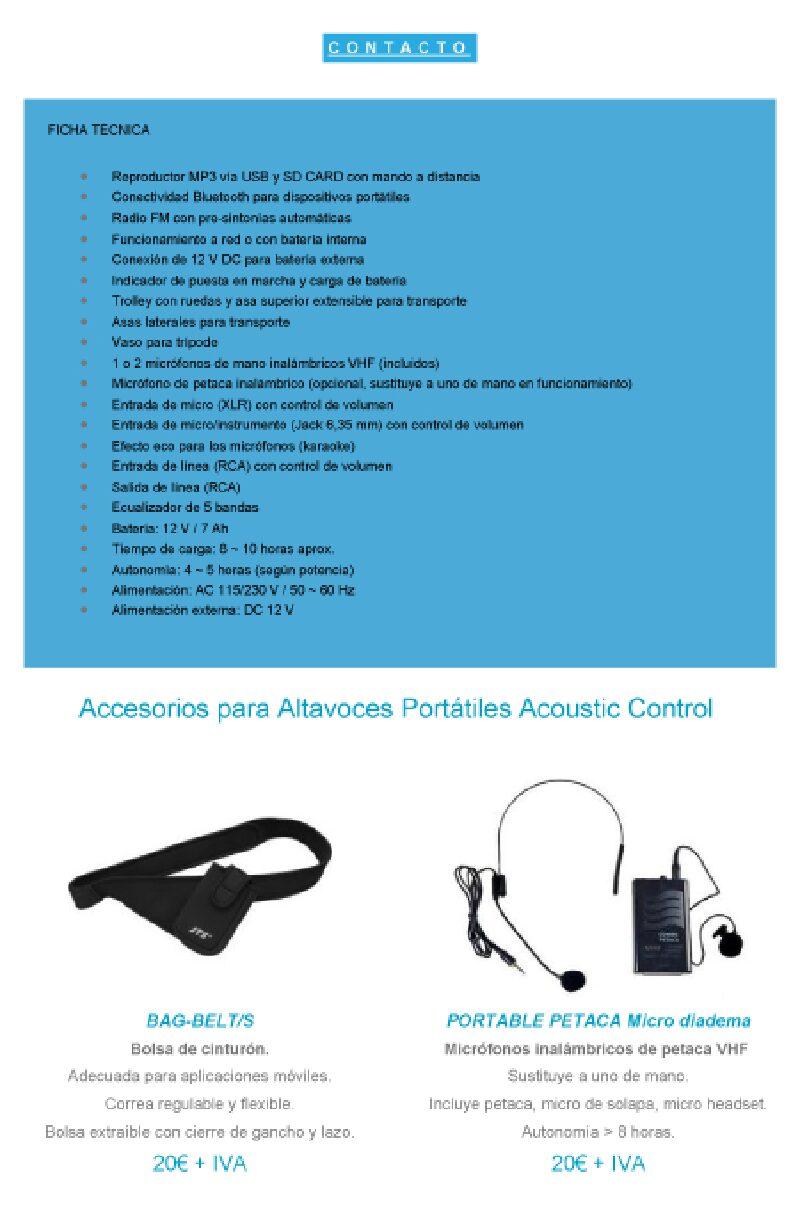 Altavoz Portátil Acoustic Control