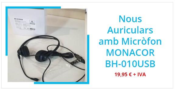 Tendències Audiovisuals a Gimnasos. Auriculars MONACOR BH-010USB